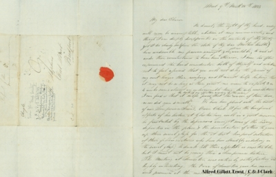 Letter from James Clark to his later wife Eleanor Stephens, 1833 (HSHC 53)