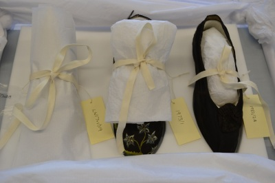 A sneak preview – the shoes packed for transport to Bath