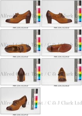 Contact sheet showing the images captured for a typical shoe as part of the project ©Alfred Gillett Trust / C & J Clark Ltd