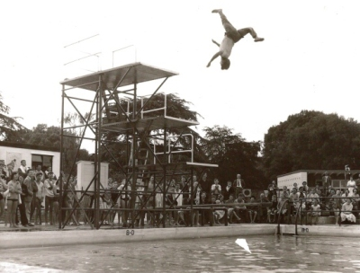 Swimming Gala at Greenbank Pool, Street in 1960