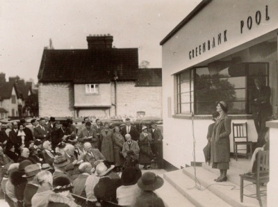 The opening of Greenbank Pool in Street, in 1937