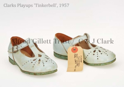 Pair girls' pale blue leather/rubber T-bar sandal; Clarks Playups 'Tinkerbell', 1957