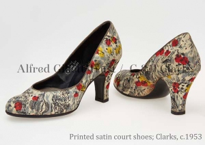 Pair women's multi-coloured printed satin court shoes; Clarks Wessex(?), c.1953