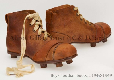 Pair boys' brown leather football boots; Kempson & Stevens Ltd. Walker CERT, c.1942-1949