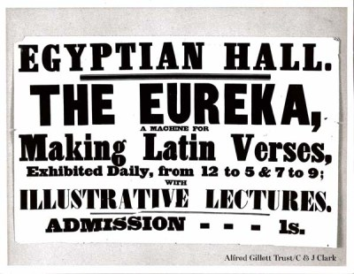 Entry ticket, Latin Verse Machine on exhibition at the Egyptian Hall, Piccadilly, 1845
