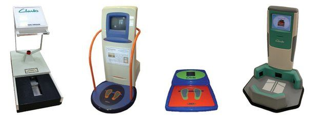 Clarks electronic foot measuring devices from 1967, 1996, 2000 and 2006