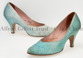 Pair women's blue/silver brocade/leather court shoes; Clarks Skyline 'Duskdawn', 1957
