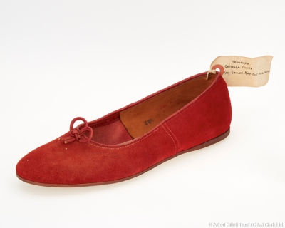 Single girls' red suede slip-on shoe; Clarks Teen-Ager 'Griselda', 1952