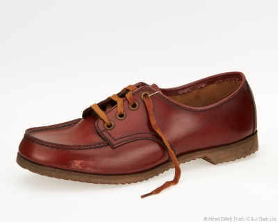 Single girls' 'Country Tan' brown leather Derby shoe; Clarks Teenagers 'Sibella', 1956