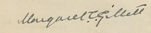 Margaret Clark Gillett's signature